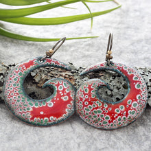Load image into Gallery viewer, Red, White & Green Spiral Enamel Earrings