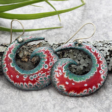 Load image into Gallery viewer, red, green and white spiral boho earrings