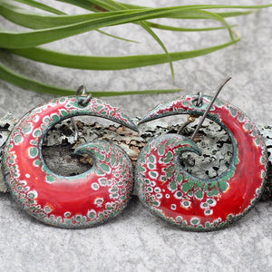 Red, White & Green Spiral Enamel Earrings