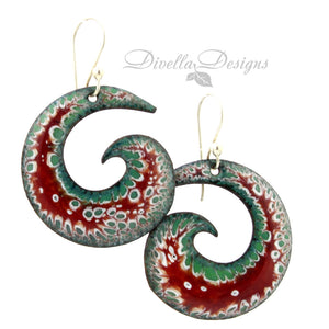 spiral earrings in red, green and white