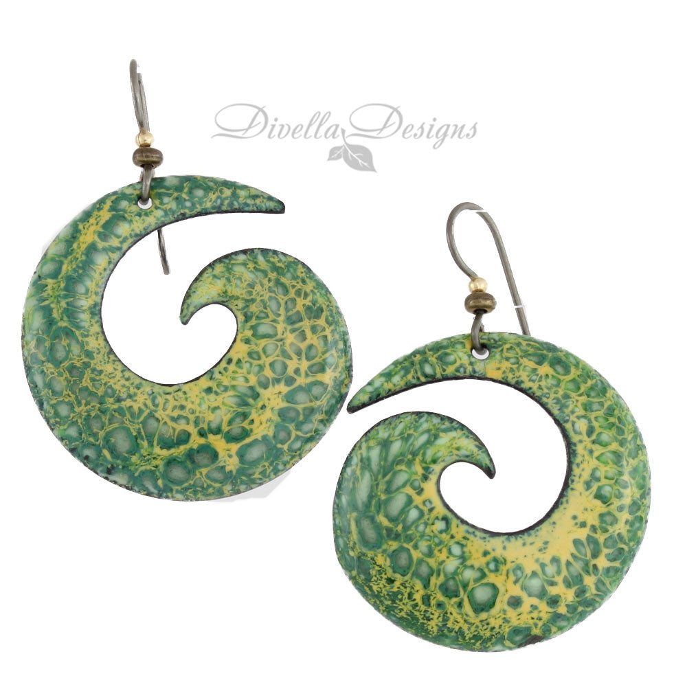 Green & Yellow Boho Spiral Earrings on niobium ear wires by Divella Designs