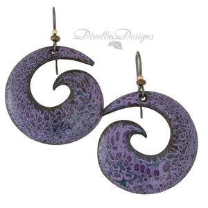 Light and dark purple big boho earrings on niobium ear wires.
