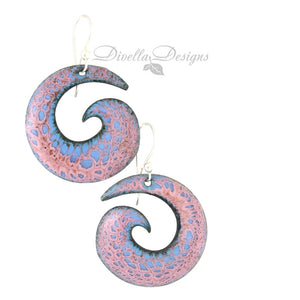 Spiral Modern Boho Earrings in Pink and Blue
