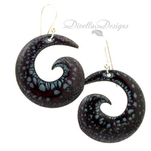 Load image into Gallery viewer, spiral gypsy style earrings dark red and black