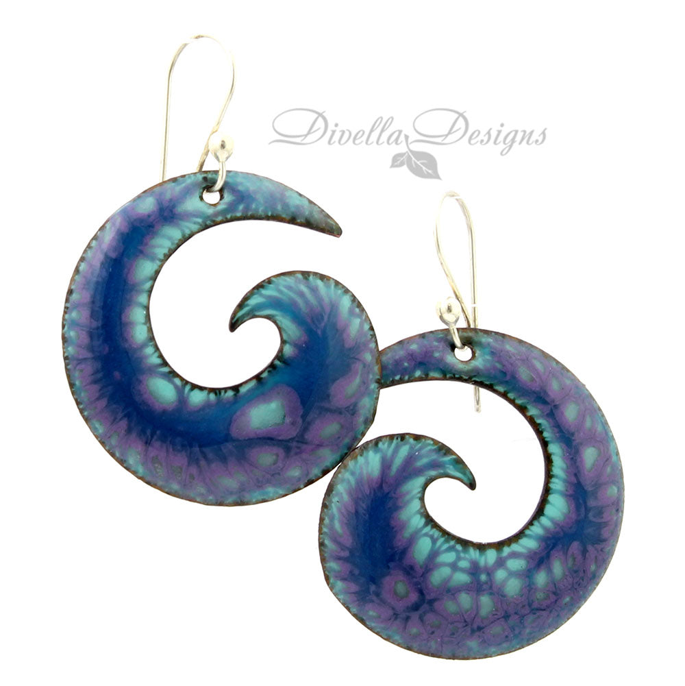 blue and purple spiral gypsy style earrings