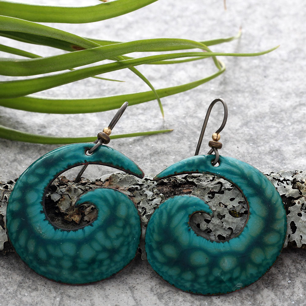 Deep turquoise spiral earrings