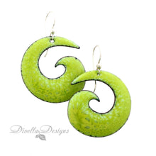 Load image into Gallery viewer, Boho Spiral Earrings Spring Green