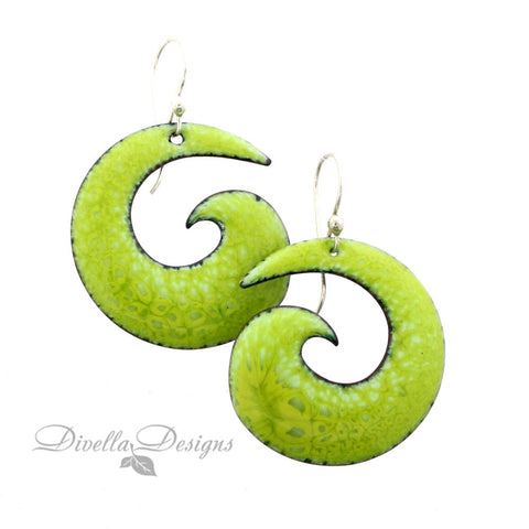 Boho Spiral Earrings Spring Green