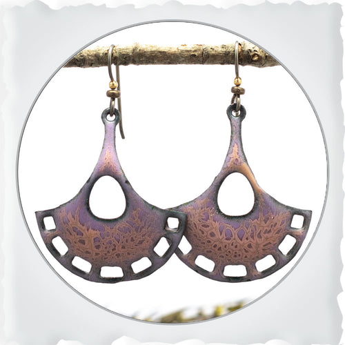 pink and blue pendulum shaped boho earrings by divella designs