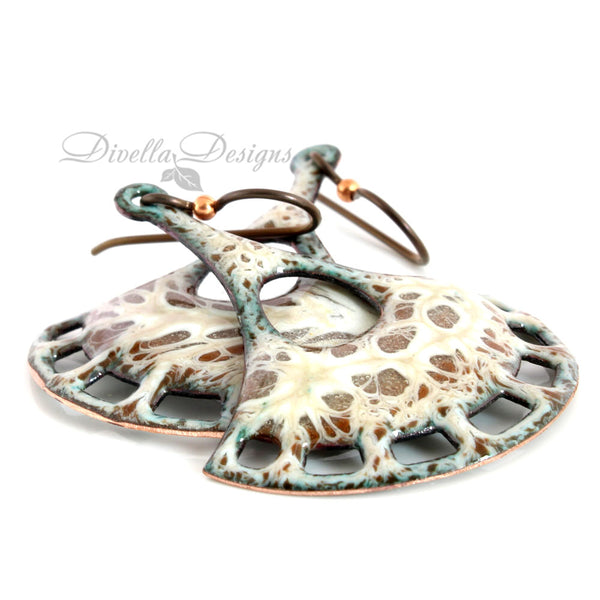 Boho Pendulum shaped earrings in Brown & Cream by Divella Designs. The ear wires are niobium.