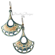 Load image into Gallery viewer, Blue, orange and cream boho earrings with a pendulum shape.