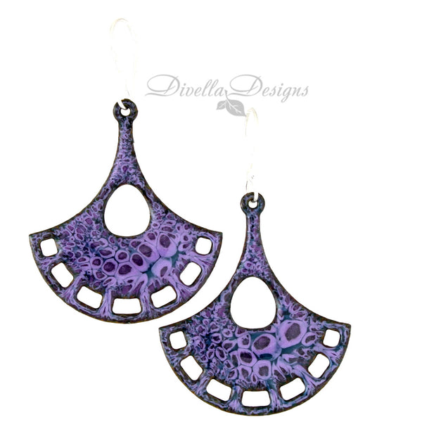 modern boho purple earrings on sterling silver ear wires