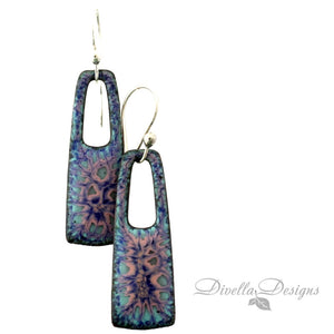 Rectangular Earrings Blue and Pink on niobium ear wires