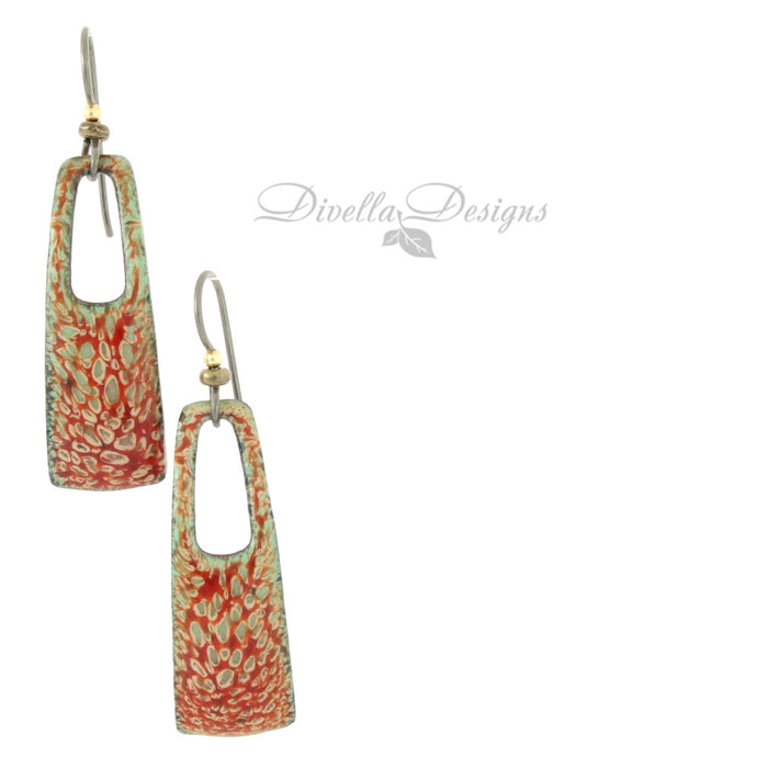 Rectangular Boho Earrings Red & Lime