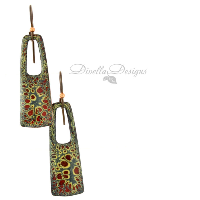 Rectangular Boho Earrings Slate, Yellow & Red