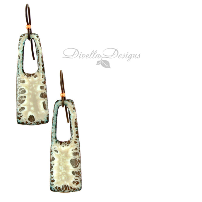 Rectangular Boho Earrings Brown & Cream