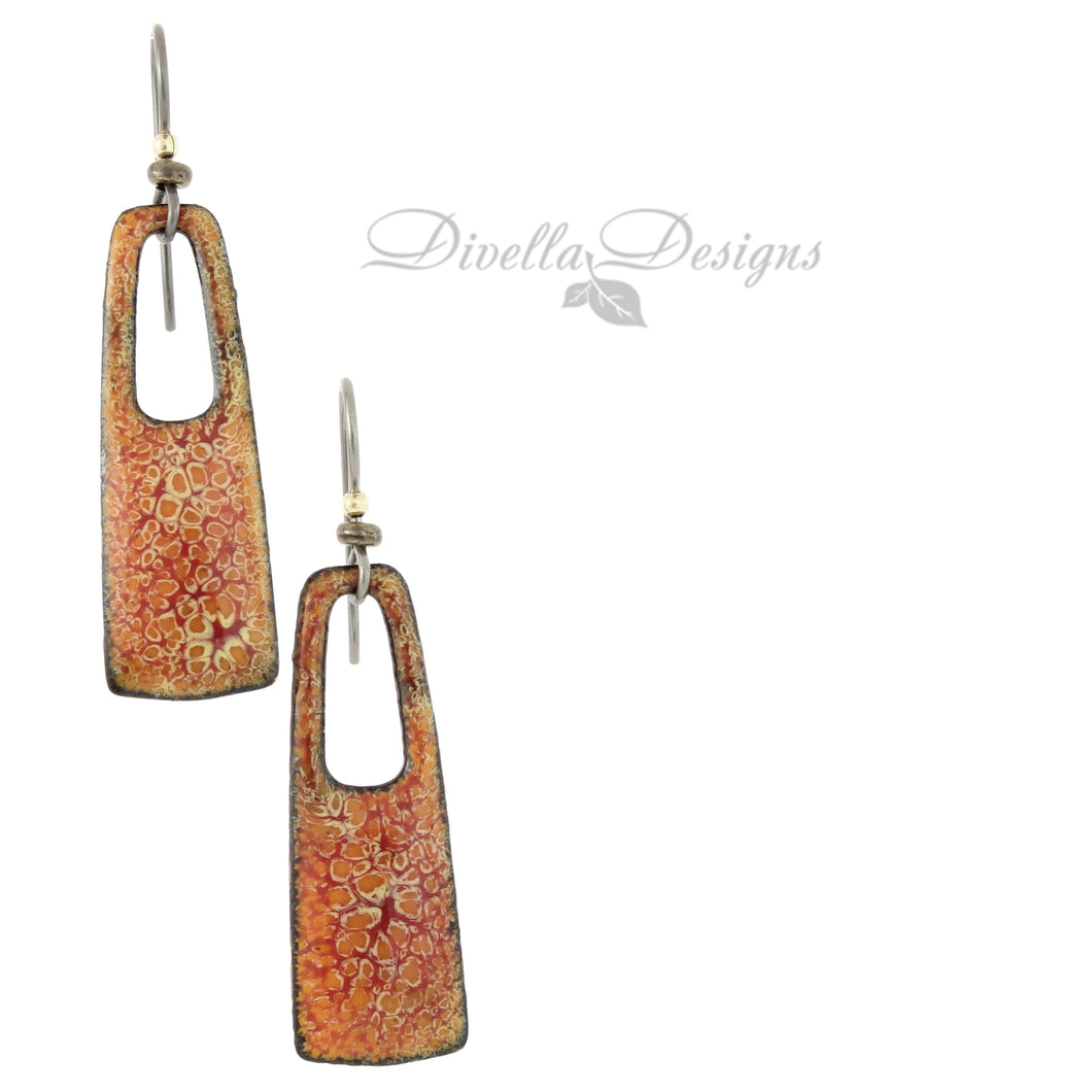 Rectangular Boho Earrings Orange & Red