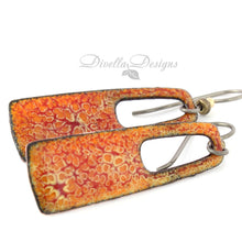 Load image into Gallery viewer, Rectangular Boho Earrings Orange & Red