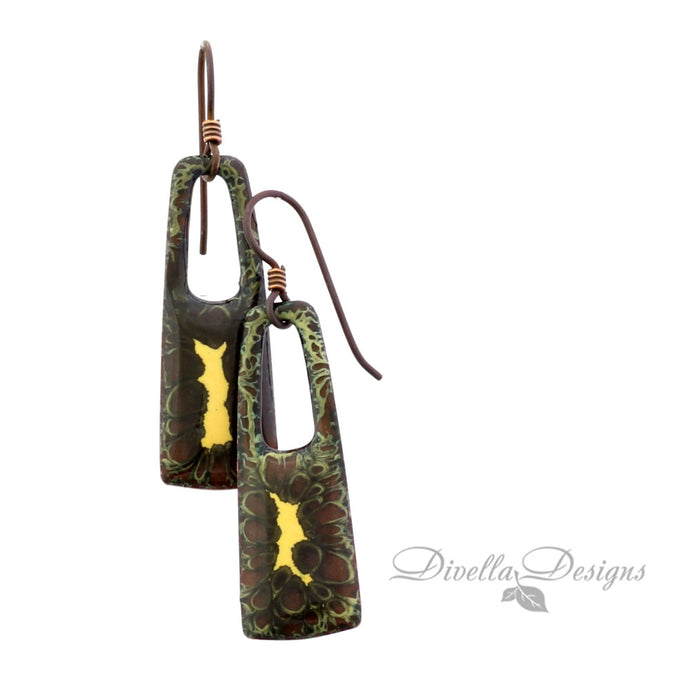 Rectangular Boho Earrings in Black, Copper & Gold on niobium ear wires
