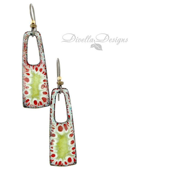 Rectangular Boho Earrings in Lime, White and Red