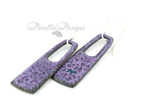 modern boho rectangular earrings in purples