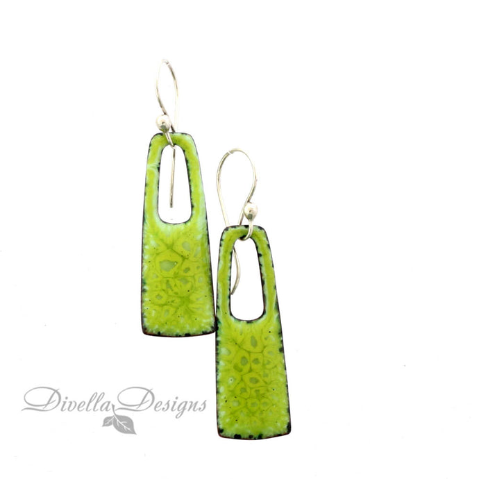 Rectangular Boho Earrings Spring Green