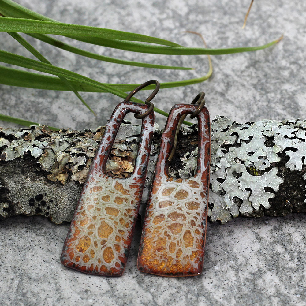 Copper & Cream Rectangular Enamel Earrings