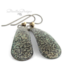 Load image into Gallery viewer, Teardrop earrings in black and willow green