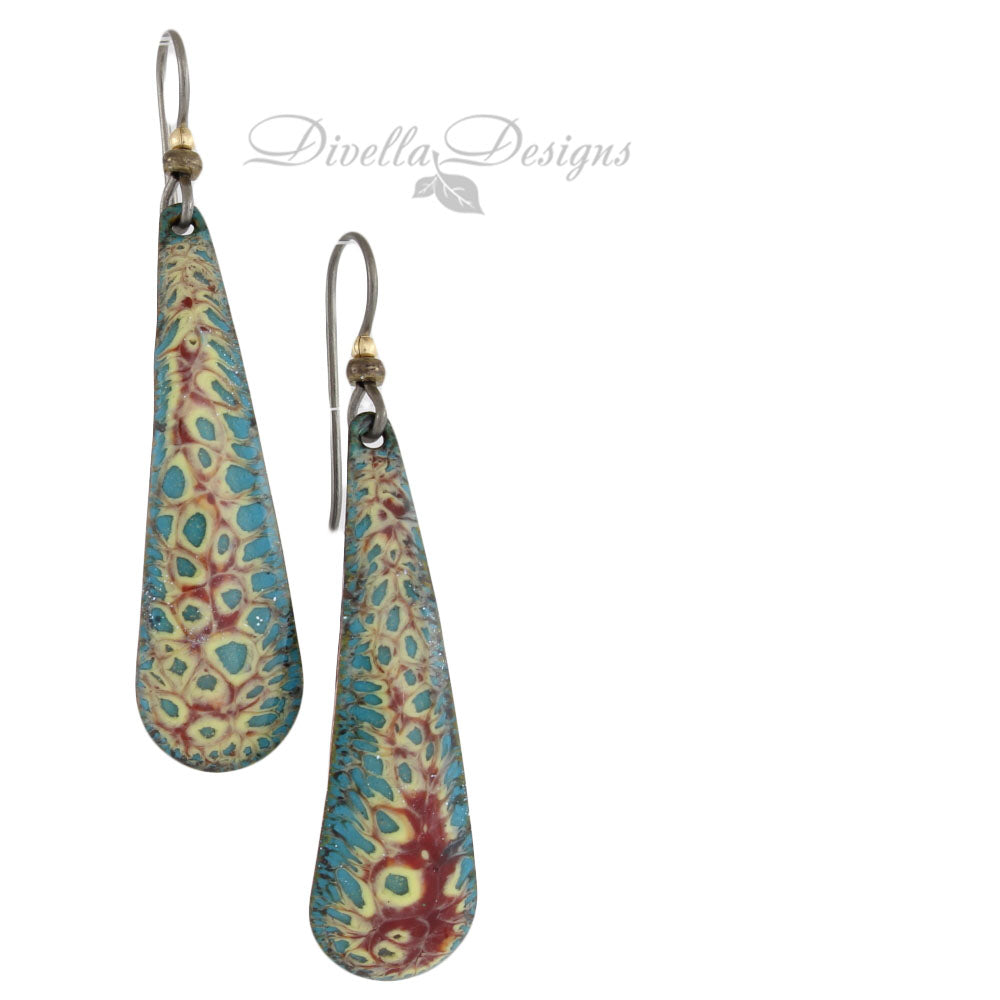 Teardrop Earrings Aqua & Yellow