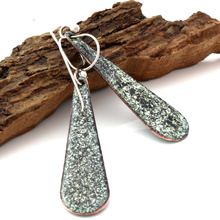 Load image into Gallery viewer, back view of turquoise teardrop boho earrings on a piece of wood