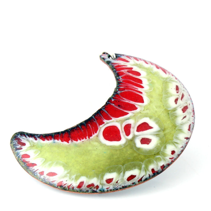 Lichen Modern Boho Pendant in red, green and white