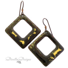 Load image into Gallery viewer, copper and gold square earrings on niobium ear wires