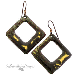 copper and gold square earrings on niobium ear wires