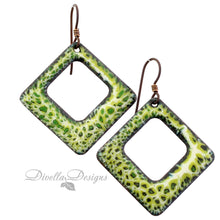 Load image into Gallery viewer, Yellow and green square earrings on niobium ear wires