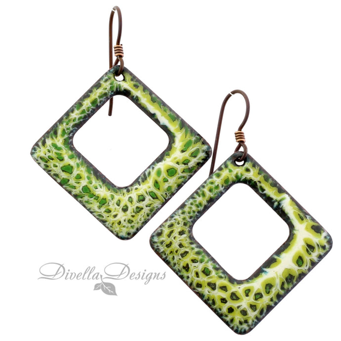 Yellow and green square earrings on niobium ear wires