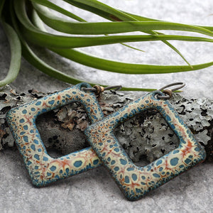 Square Boho Enamel Earrings