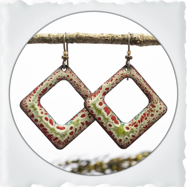 Square Modern Boho Earrings in Red and Lime Green