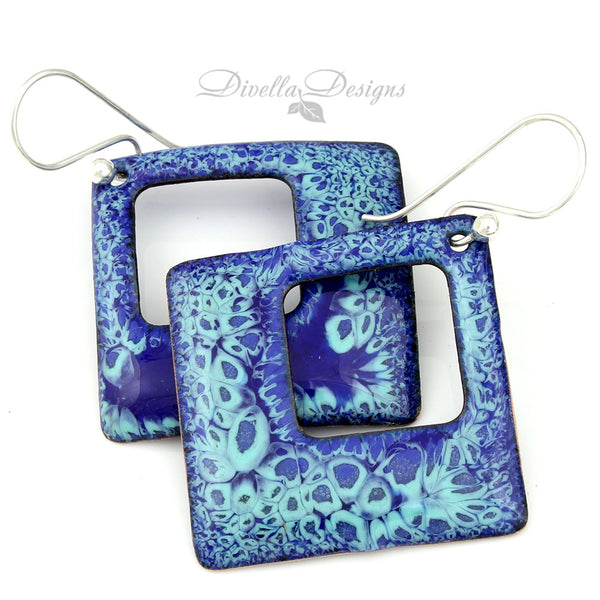 Square Modern Boho Earrings in Blue