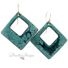 Load image into Gallery viewer, Square Enamel Earrings