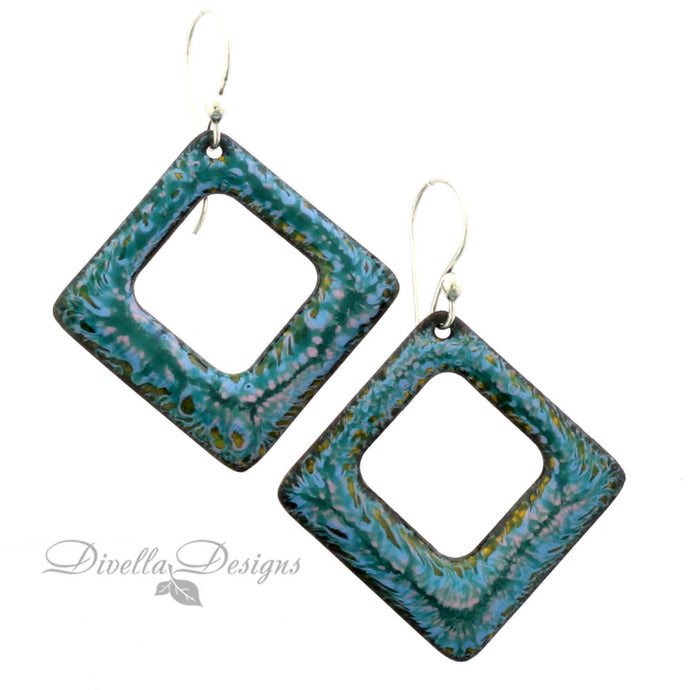Square Boho Enamel Earrings Blue & Orange