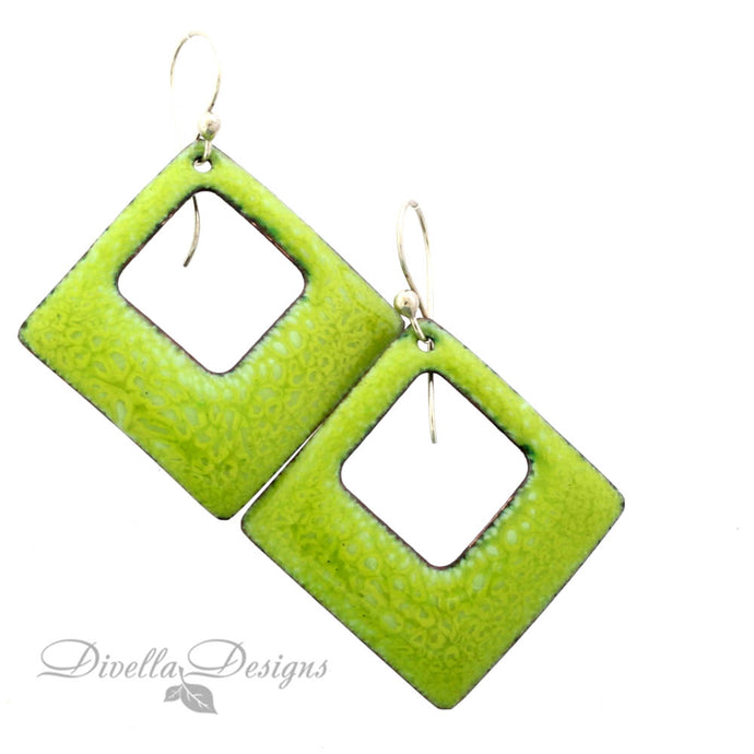 spring green square boho earrings