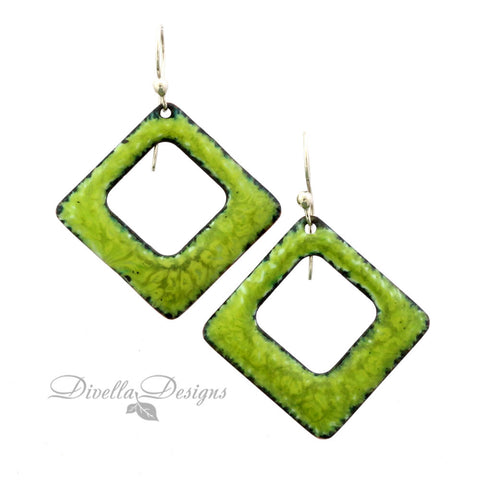 Square Boho Enamel Earrings Spring Green