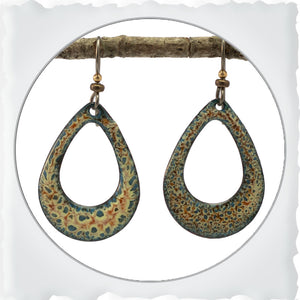 Rounded Teardrop Enamel Earrings
