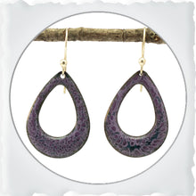 Load image into Gallery viewer, Rounded Teardrop Enamel Earrings in Purple