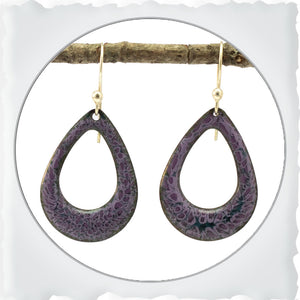 Rounded Teardrop Enamel Earrings in Purple
