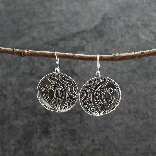 fine silver tulip earrings