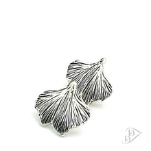 Load image into Gallery viewer, fine silver ginkgo earrings