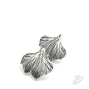 fine silver ginkgo earrings