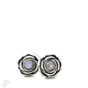 sterling silver rosette earrings with opal non gems