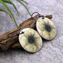 Load image into Gallery viewer, Cream Enameled Poppy Earrings